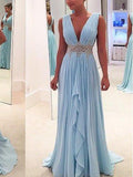 Deep V-Neck Long A-line Light Blue Chiffon Beaded Belt Simple Prom Bridesmaid Dresses, PD0278