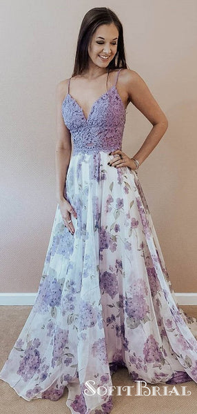 Outstanding Lace & Chiffon Spaghetti Straps A-line Prom Dresses, TYP0227