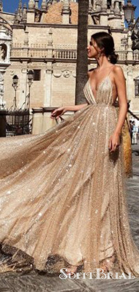 Sexy Backless Spaghetti Straps Gold Sequin Long Evening Prom Dresses, TYP0045