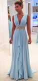 Deep V-Neck Long A-line Light Blue Chiffon Beaded Belt Simple Prom Dresses, PD0278