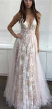 2019 Newest Gorgeous V-neck Lace Tulle Long A-line Cheap Prom Dresses, PD0259