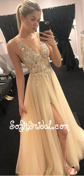 2019 Sparkly V-neck Long Light Champagne Prom Dresses with Beading, TYP0009