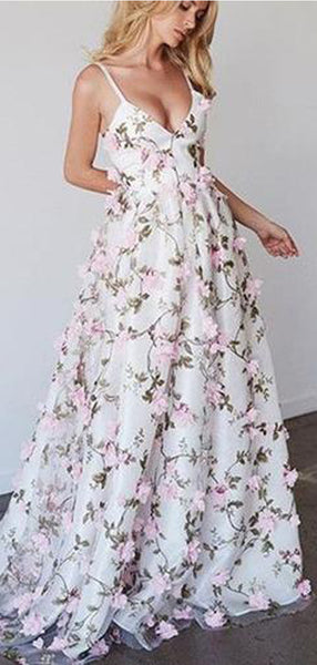 Spaghetti V-neck Floral A-line Prom Dresses, Unique Evening Gown, Long Prom Dresses, PD0322