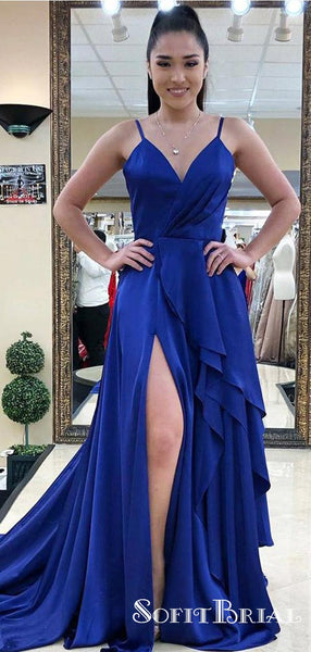 Charming Spaghetti Straps Royal Blue Long Prom Dresses with Slit, TYP0141