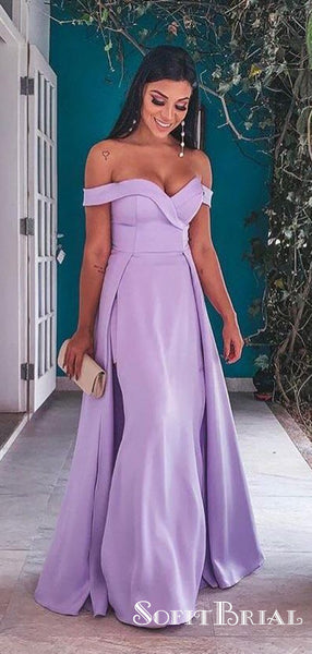 Purple Off-shoulder Sweetheart Long Cheap Prom Dresses with Side Slit, TYP0101