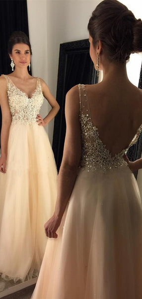 Newest 2019 V-Neck Appliques Beaded Long A-line  Tulle Prom Dresses, PD0253