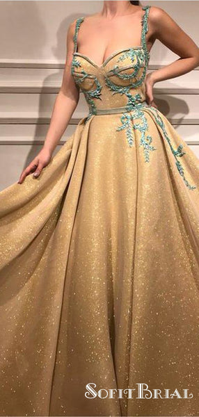 Pretty Gold A-line Straps Long Cheap Prom Dresses With Applique, TYP0123