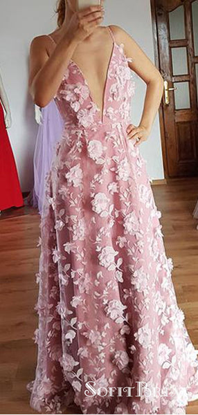 Pink Deep V-neck 3D flowers Lace Long Cheap Prom Dresses, TYP0221