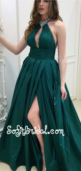 A-Line Halter Backless Long Dark Green Prom Dresses with Keyhole Beading, TYP0018