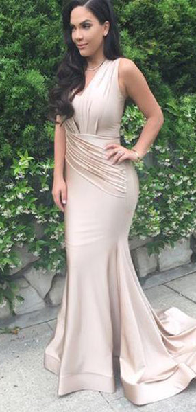 Sleeveless Long Mermaid Nude Satin Prom , Cheap Prom Dresses, PD0312