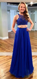 Two Pieces Royal Blue Sparkle Beaded Long A-line Lace Chiffon Prom Dresses, PD0280