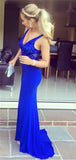 Royal Blue V-neck Sleeveless Shinny Long Mermaid Jersey Prom Dresses, PD0281