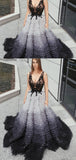 V-neck Appliques Beaded Side Slit Gradient Long Prom Dresses, PD0390