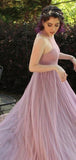 Simple Long A-line Sleeveless Tulle Long A-line Prom Dresses, PD0269