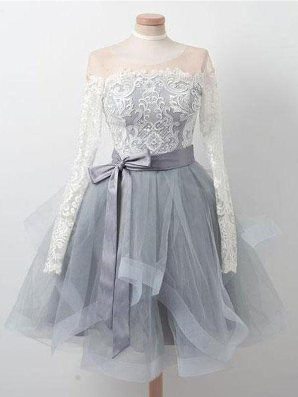 Long Sleeves Lace Grey Short Cheap Homecoming Dresses Online, CM576