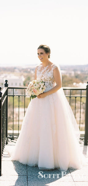 Outdoor A-line Elegant Wedding Dresses, Lace Tulle Wedding Bridal Gowns, TYP0259