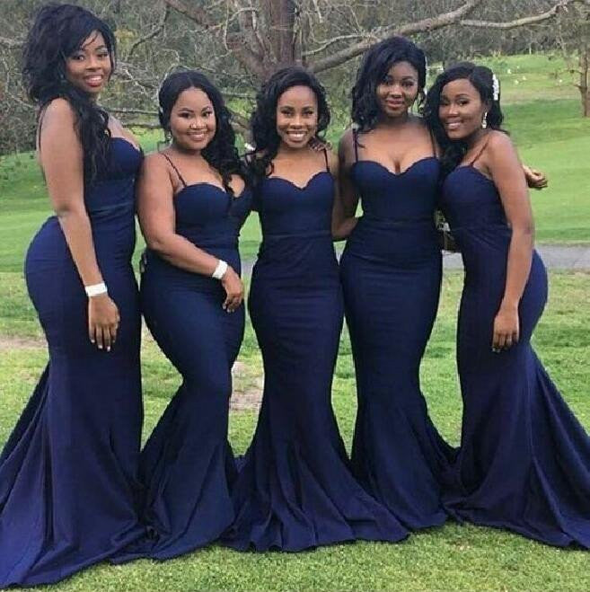 Navy Spaghetti Long Mermaid Simple Design Bridesmaid Dresses, Wedding Guest Dresses, WG151 - SofitBridal