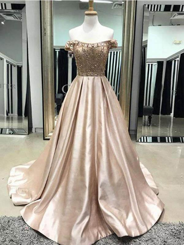 Off Shoulder Long A-line Beaded Satin Prom Dresses, PD0380