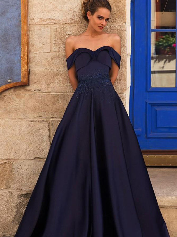 Navy Off Shoulder A-line Beaded Prom Dresses, PD0396