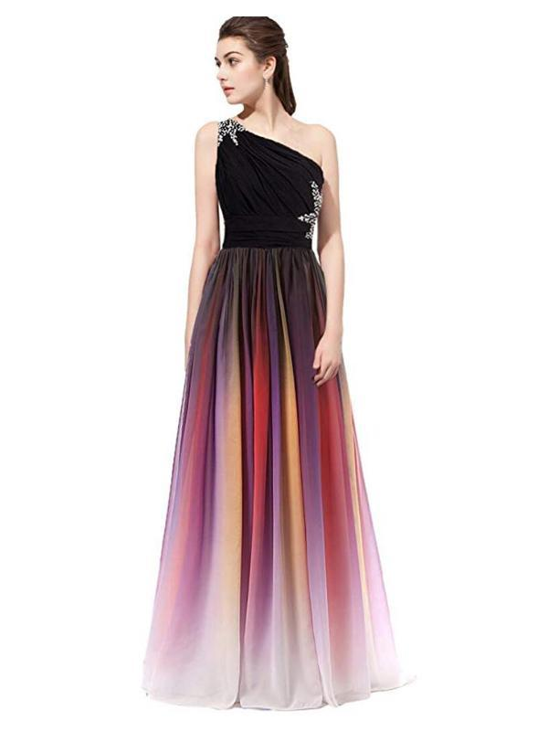 Gradient One Shoulder Beaded Chiffon Ombre Long Prom Dresses, PD0383