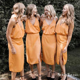 Spaghetti Straps V Neck Sleeveless Side Slit Short Bridesmaid Dresses, TYP0163