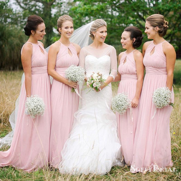 A-line Scoop Neck Chiffon with Ruffles Long Glamorous Bridesmaid Dresses, TYP0148