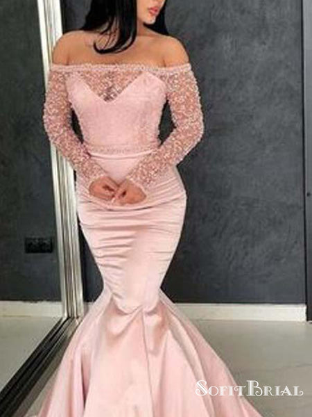 Gorgeous Mermaid Off Shoulder Long Sleeve Pink Long Prom Dresses with Beading, TYP0086