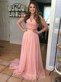 Off Shoulder Beaded Chiffon Prom Dresses, Formal Dresses, PD0352