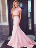 Two Pieces Short Sleeve Pink Beaded Satin Long Mermaid Prom Dresses, PD0273