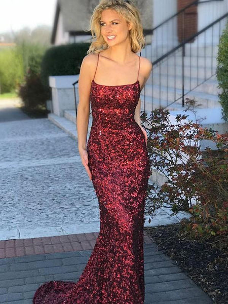 Tube Top Spaghetti Sequin Evening Dress, Pegeant Dress with Trailing, Prom Dress, EME051