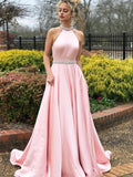 Halter A-line Satin Beaded Elegant Evening Dress, Open Back Pegeant Dress, Prom Dress with Trailing, EME030
