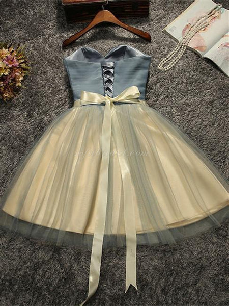 Strapless Tulle Pleats Short Dress with Beading, Lovely Lace-up Back Homcoming Dresses with Bow, SEME220