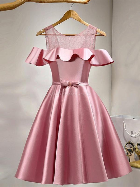 Off-shoulder See-through Ruffle Satin Homecoming dresses With Bow, Lace up Dress SEME227