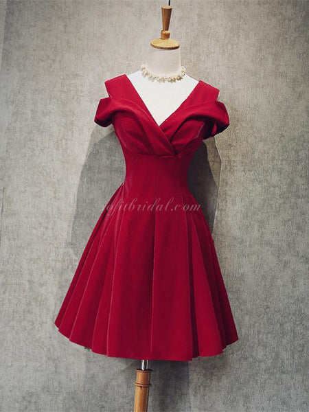 A-line V-neck Off-shoulder Short Dress, Princess Red Velvet Homcoming Dresses, SEME219