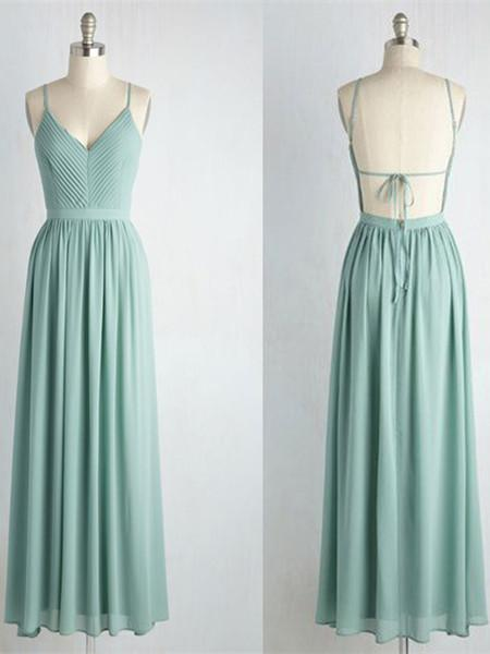 V-neck Pleats Bandaged Backless Chiffon Floor-length Elegant Bridesmaid Dress, EME127