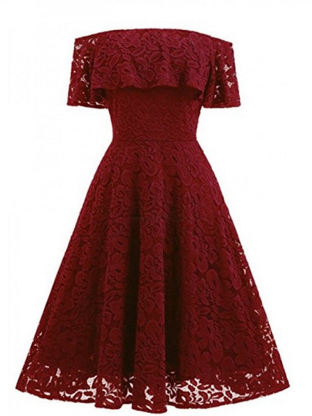 A-line Off-shoulder Burgundy Lace Homecoming dresses SEME223