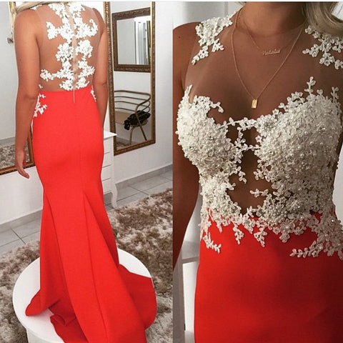White Lace Top Sleeveless Red Mermaid Soft Satin Long Prom Dresses, PD0283