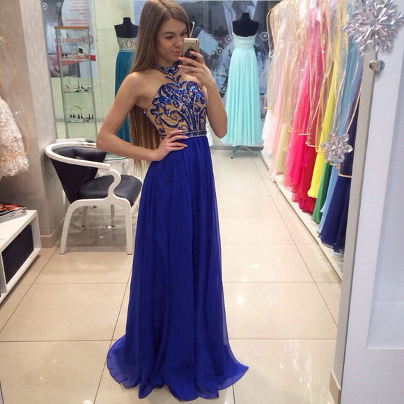 Halter Royal Blue Rhinestone Beaded Long A-line Chiffon Prom Dresses, Cheap Prom Dress, PD0310