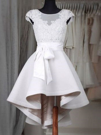 Lace Top See-through Croctail White Dress with Belt Bow, Asymmetric Homcoming Dresses, SEME222