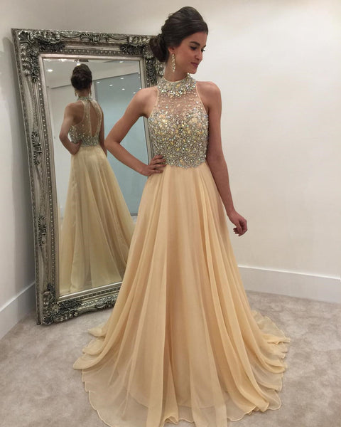 2017 High Neck Rhinestone Open Back Long A-line Prom Dresses, PD0258