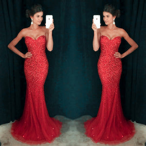 Sweetheart Red Sexy Mermaid Tulle Rhinestone Prom Dresses, PD0254 - SofitBridal