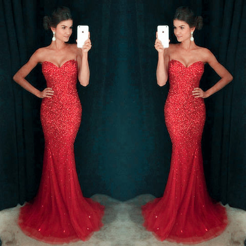 Sweetheart Red Sexy Mermaid Tulle Rhinestone Prom Dresses, PD0254
