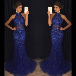 Mermaid Navy Blue High Neck Rhinestone Prom Dresses, PD0255