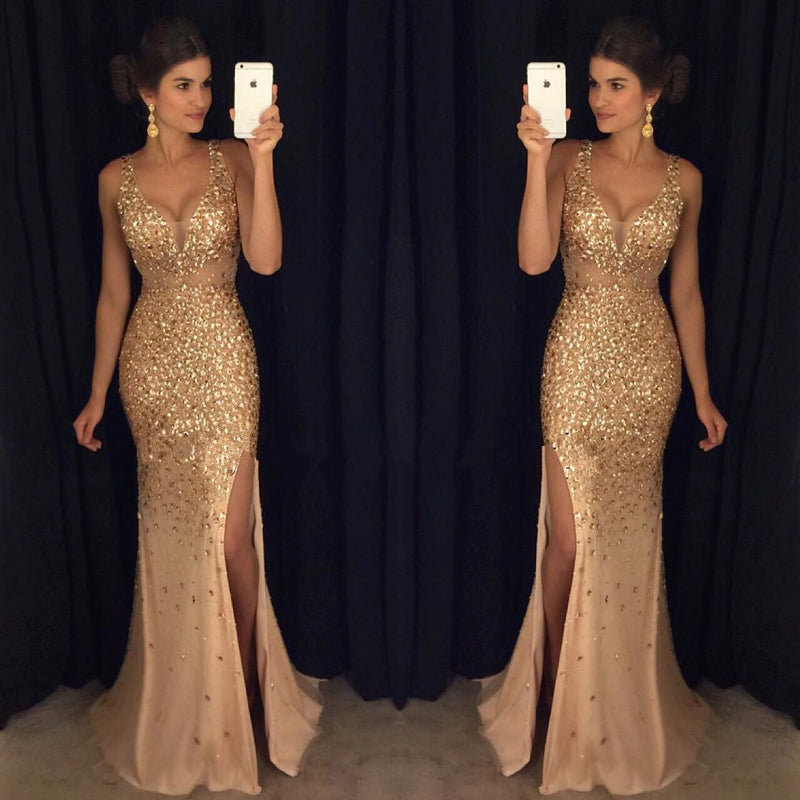 Gorgeous Sexy Gold Rhinestone Side Slit Long Prom Dresses, PD0256 - SofitBridal