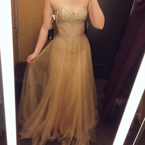 2017 Sweetheart Sparkle Beaded Long A-line Gold Tulle Long Prom Dresses, PD0284
