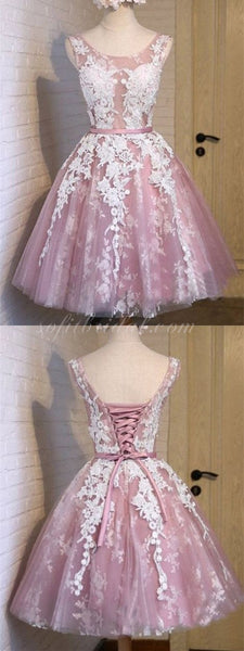 A-line See-through Tulle Homecoming dresses With Bow, Lace up Ball Dress SEME228