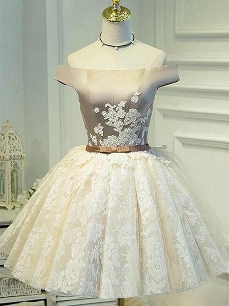 Off-shoulder Appliqued Homecoming dresses With Bow, Lace Hem Lace up Back Ball Dress SEME226
