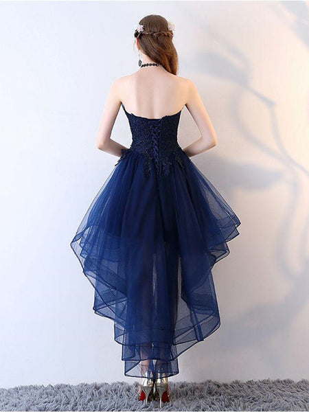 Strapless Royal Blue Organza Homecoming dresses With Beading, Asymmetric Dress With Trailing SEME225