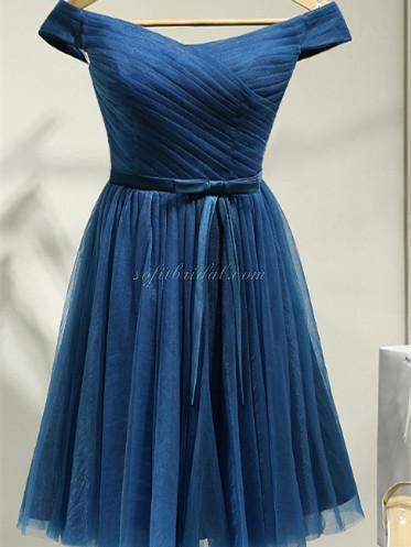 Off-shoulder Pleats Tulle Homecoming Dresses with Bow, Short Dress with Lace-up Back SEME237