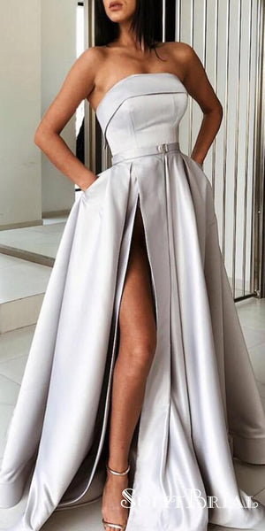 Charming Grey Strapless Long A-line Side Slit Satin Prom Dresses, TYP0050